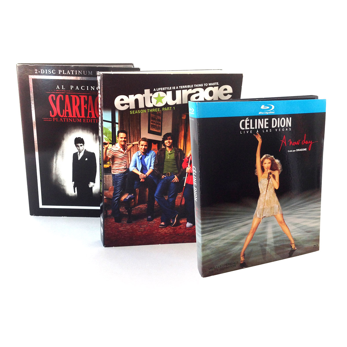 Scarface, Entourage, Celine Dion Packaging